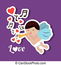 love cupid holding trumpet music romantic violet background