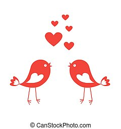 Love cute birds with red hearts