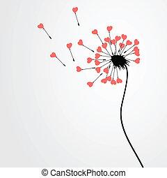 Love dandelion - From a dandelion seeds depart. A vector...