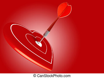 love, dart hitting the center of a heart, valentine\'s day, arrow