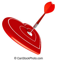 love, dart hitting the center of a heart, valentine\'s day,...