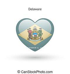 Love Delaware state symbol. Heart flag icon.