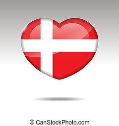 Love DENMARK symbol. Heart flag icon. Vector illustration.