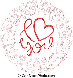 Love design in a circle of icons for Valentine's day