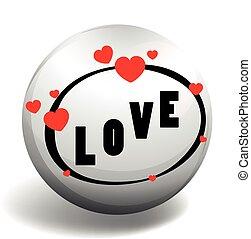 Love design on round badge