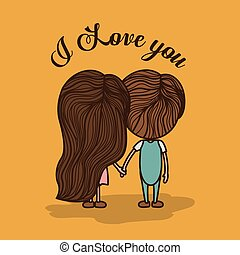 Love design, vector illustration - Love design over yellow...