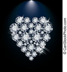 Love diamond heart, valentines day card, vector