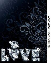 Love diamond wallpaper, vector