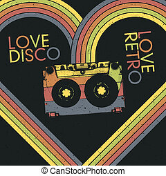 Love Disco, Love Retro. Vintage poster design template, vector, EPS10