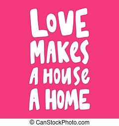 love., disegnato, valentines, circa, design., casa, adesivo, mano, contenuto, media, amore, marche, illustrazione, giorno, home., sociale, vettore