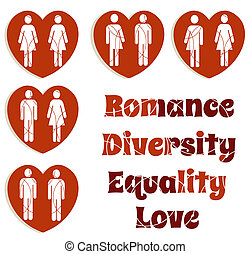 A set of icons illustrating love diversity and Valentine's day