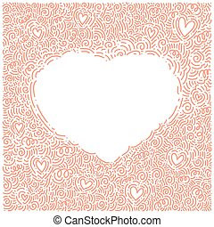 Love doodle background with heart. Vector hand drawn template