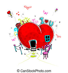 Love Doodle - illustration of love concept in doodle style ...