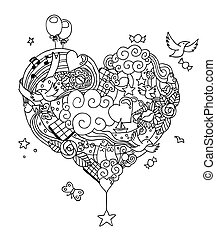 Love Doodle Line Art