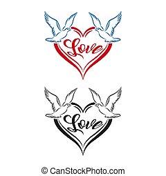 Love Dove Logo / Bird With Heart Love Logo Vector / Wedding logo