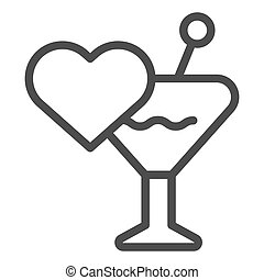 Love drink line icon. Romantic toast vector illustration isolated on white. Glass and heart outline style design, designed for web and app. Eps 10.