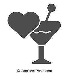 Love drink solid icon. Romantic toast vector illustration isolated on white. Glass and heart glyph style design, designed for web and app. Eps 10.
