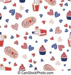 LOVE DRINK Valentine Day Seamless Pattern Vector Illustration