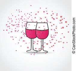 Love drink ,with two wine glasses and hearts