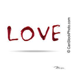 LOVE dripping blood. Vector illustration.