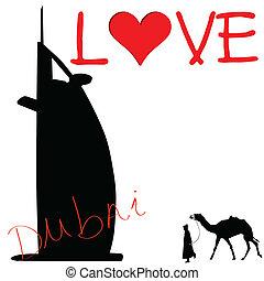 love dubai color art vector illustration