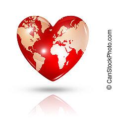Love earth, heart icon - Love earth symbol. 3D world map in...