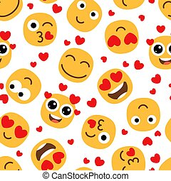Love emojis seamless pattern. Cute happy emoticons background. St Valentine day vector texture