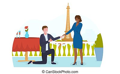 Love engagement in a romantic place in paris
