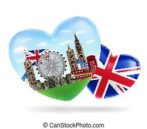 love England heart shape logo with england flag