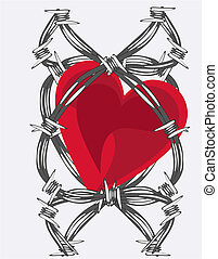Love Entwined in barb wire - Heart entwined in barb wire.....