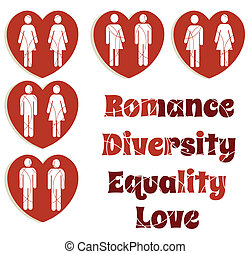 A set of love graphics illustrating equality for all