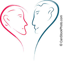 love faces - love couple abstract illustration, heart shape