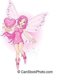 Love Fairy - Illustration of beautiful love fairy holding...