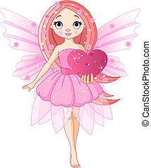 Love Fairy - Beautiful love fairy holding heart. Vector...
