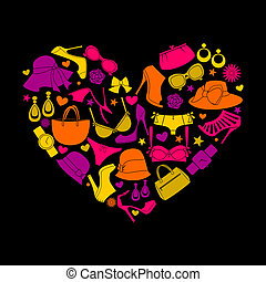 Love Fashion - Illustration of a colorful heart made from...