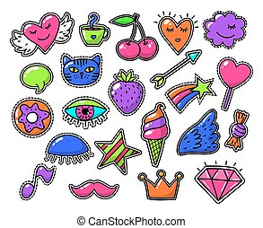 Love fashion signs, comic drawing vector patches
