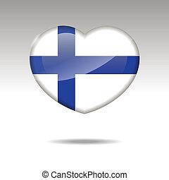 Love FINLAND symbol. Heart flag icon. Vector illustration.