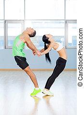 love., fitness, paar, formung, a, herz- form, mit, ihr, körper