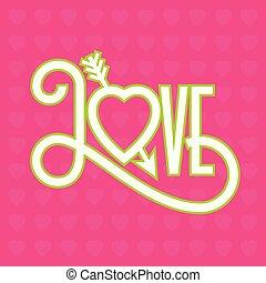 Love flat design typographic illustration with arrow through heart.