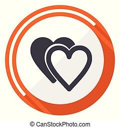 Love flat design vector web icon. Round orange internet button isolated on white background.