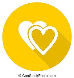 love flat design yellow web icon
