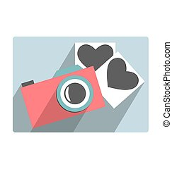 Love flat photo camera with hearts photo frames isolated on white