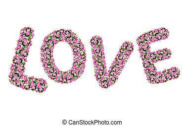 LOVE, flower alphabet isolated on white