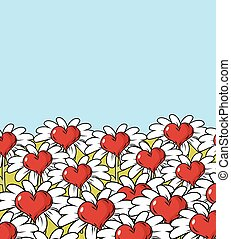 Love flower landscape. Chamomile meadow. Blue sky and red heart with white petals.