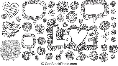 Love Flowers Doodle Sketch Set
