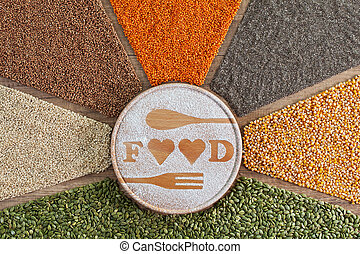Love food concept with colorful variety of grains and seeds
