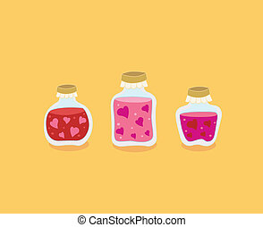 Love food: Jam with love hearts