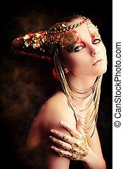 love for jewelry - Art project: beautiful woman with golden...