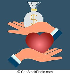 Love for money. Conceptual illustration of prostitution