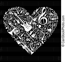 Love for music concept illustration. High contrast musical instruments icon set in heart shape background. Vector file available.